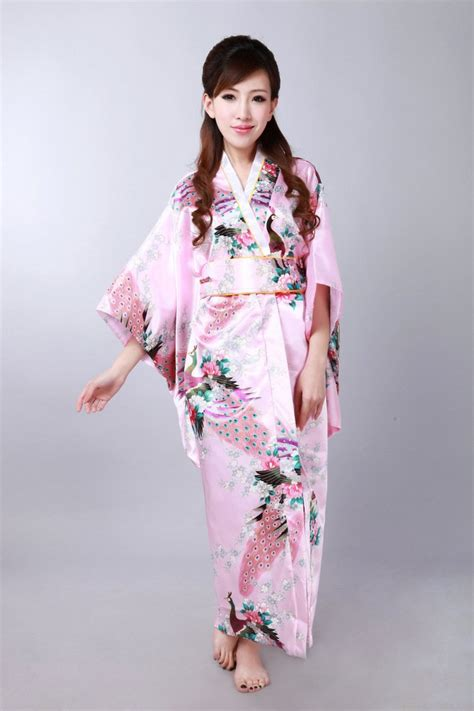 Country Style Clothes For Women - autumn exquisite japan kimono dress in pink women clothes with japan style classical costumes