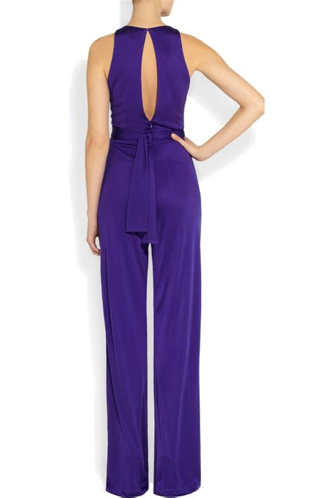 jumpsuit purple issa silkjersey jumpsuit in purple lyst