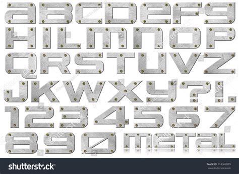 Ss U Font White metal letters numbers metal alphabet numbers stock