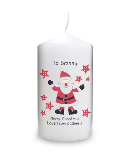 spotty santa personalised candle personalised candles