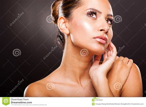 youngest looking women woman looking up royalty free stock photography image