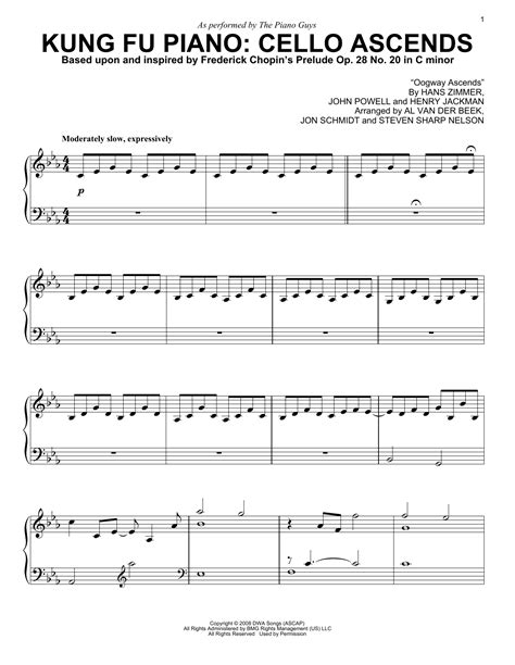 printable lyrics to kung fu fighting kung fu piano cello ascends sheet music by the piano guys