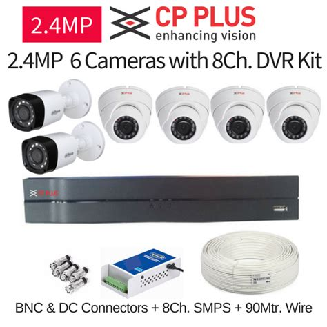 Dvr 8ch Cctv Cp Plus 4 In 1 Tvl Ahd Hdcvi Hdtvi Ip 1mp cp plus 2 4mp fullhd 6 cctv cameras with 8ch dvr kit with all accesso security system mart