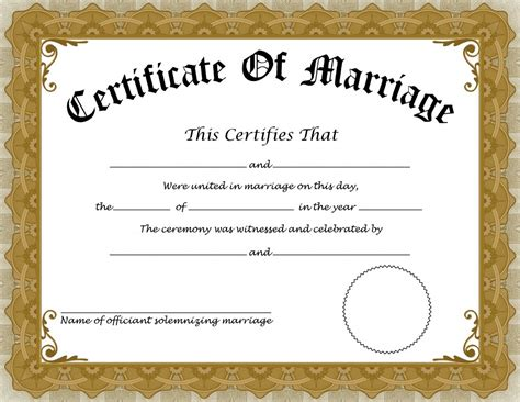 Free Marriage Certificate Template by Marriage Certificate 5 Professional And High Quality
