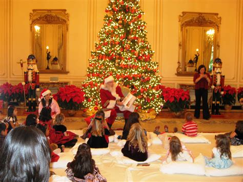 planning a christmas party with santa reading to the kids