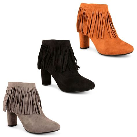 womens faux suede high heel tassel fringe zip up