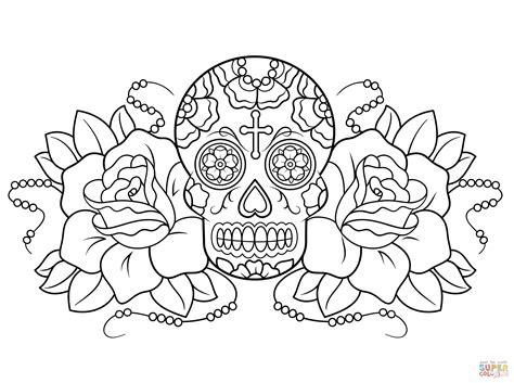 Skulls And Roses Coloring Pages sugar skull and roses coloring page free printable coloring pages