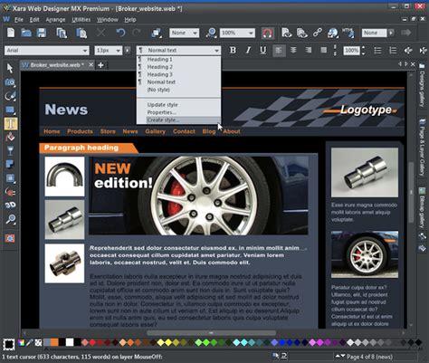 templates for xara web designer xara web designer mx 8 preview