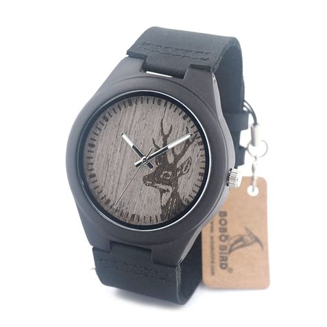 bobobird g03 deer engraved black wood watches leather band