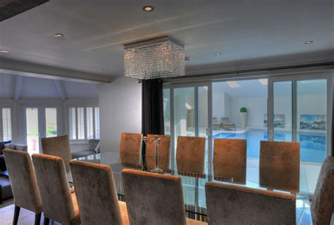 Interiors Weybridge by Lighting Design Dining Room Overlooking Swimming Pool