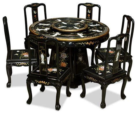 oriental dining room set chinese dining furniture black 48 quot black lacquer pearl figure motif round dining table