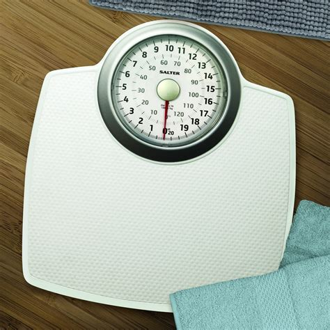 White Bathroom Scales by Salter Classic Mechanical Bathroom Scales White