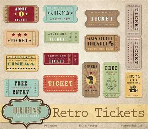 free printable vintage ticket template retro tickets clipart vintage show circus cinema