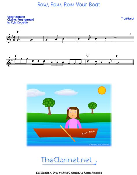 row row row your boat backing track free clarinet sheet music popular songs 2012 music score
