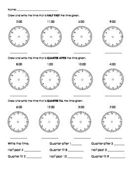 clock worksheets quarter after time half past quarter after quarter till by kendra