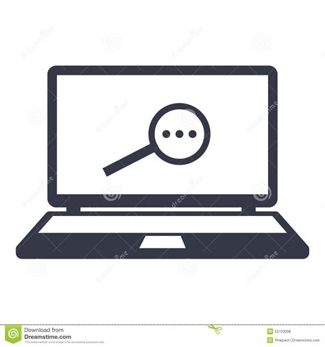 What Are Searching For On The Icons Searching For Information On The Magnifier On The Laptop Monitor Stock