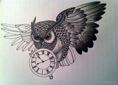 owl outline tattoo designs black ink flying owl with clock design by elisaveta