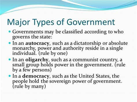 Type Of Government Major Types Of Government Ppt