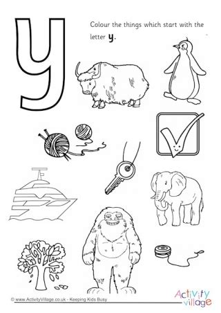 Y Words Coloring Pages by Start With The Letter P Colouring Page