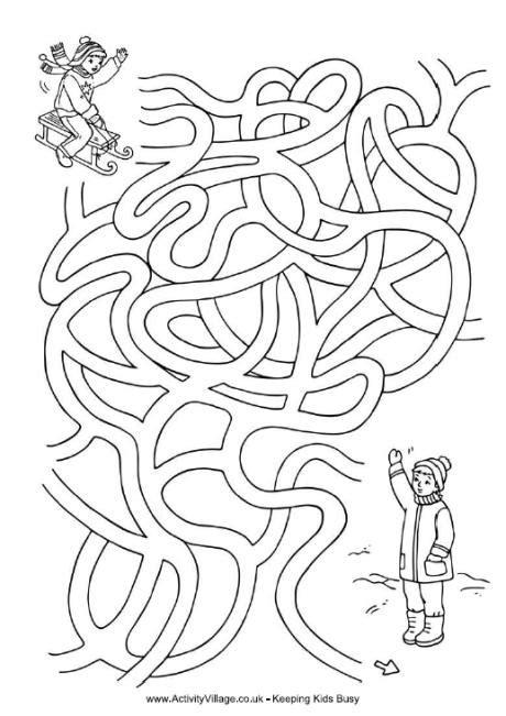 printable winter maze sledding fun maze activity pages pinterest maze