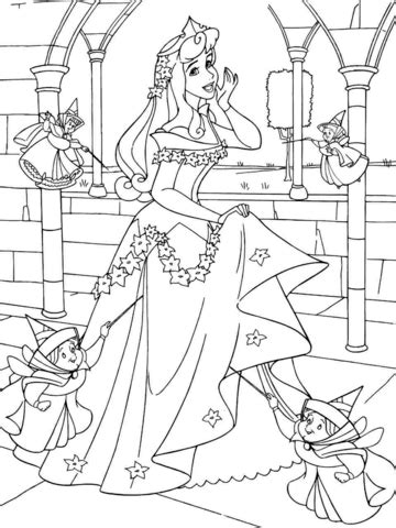 sleeping beauty printable coloring pages 3 disney princess aurora with good fairies coloring page free