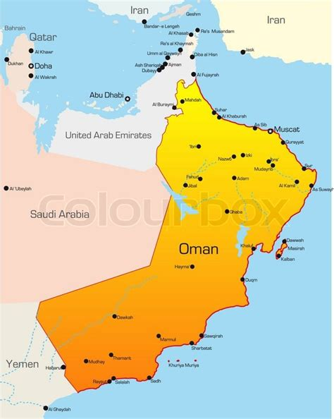 oman map vector abstract vector color map of oman country stock vector