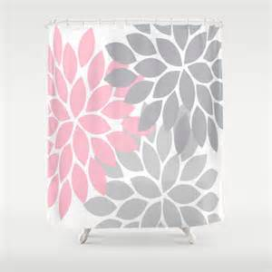 grey and pink shower curtain pink gray shower curtain custom monogram flower by