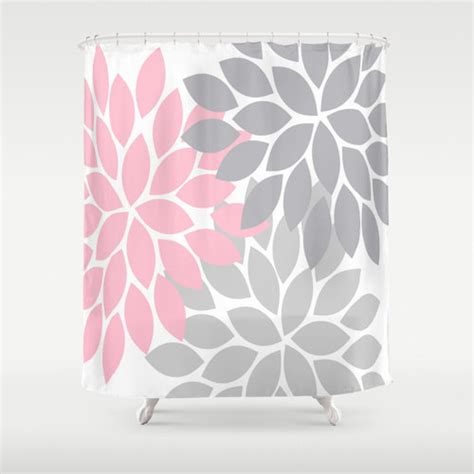 Pink And Gray Shower Curtain pink gray shower curtain custom monogram flower by