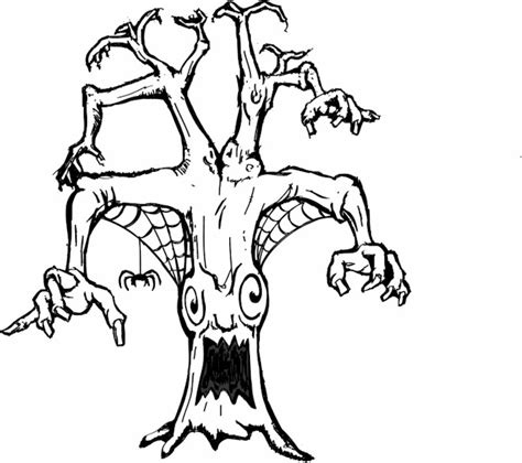 spooky tree coloring page spooky tree coloring pages