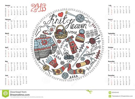 doodle calendar 2016 calendar 2016 doodle made knitting stock vector