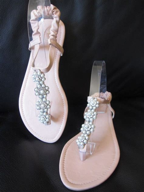 pink flat sandals wedding pink flat sandals with pearl flowers for bridesmaid