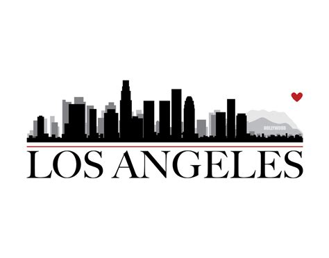 los angeles city skyline with heart diy printable wall art