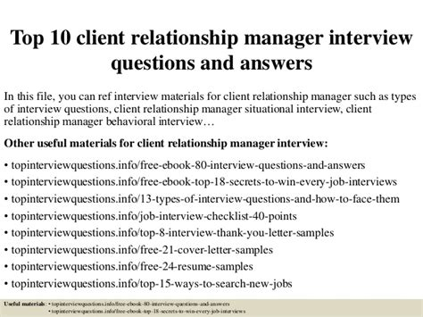 top  client relationship manager interview questions