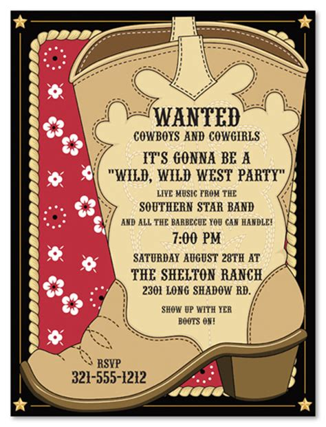 free western invitation templates cowboy invitations template best template collection