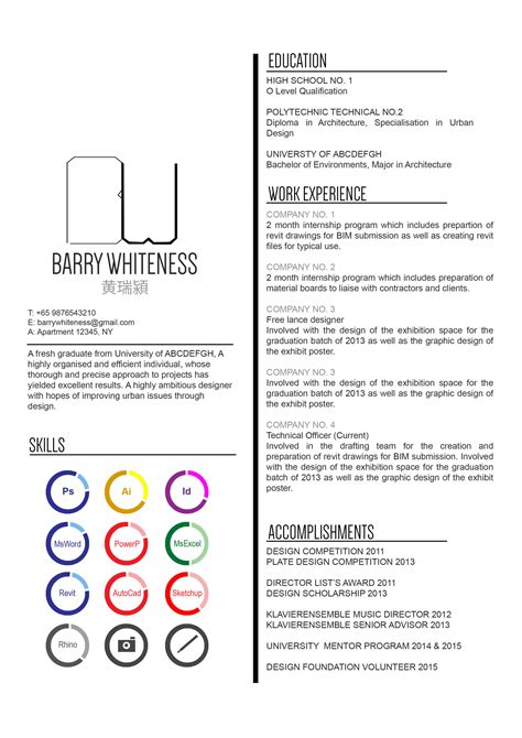 Undergraduate Student Resume Examples by Gallery Of The Top Architecture R 233 Sum 233 Cv Designs 8