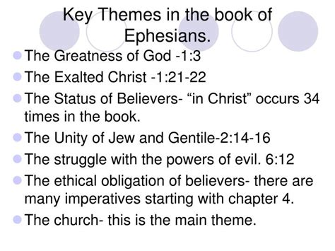 book key themes ppt introduction to the letter to the ephesians