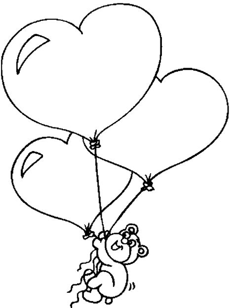 heart balloon coloring page bear with heart balloons coloring page color book
