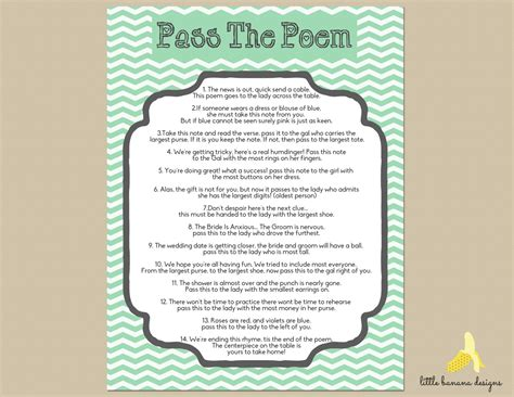 Gift Card Bridal Shower Poem - items similar to mint chevron bridal shower pass the poem print at home