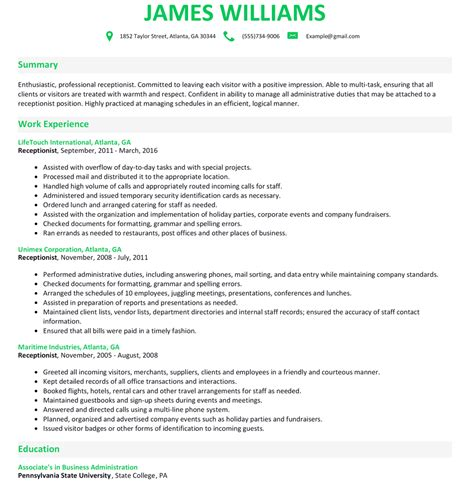 Receptionist Resumes by Receptionist Resume Exles Resume Template Easy Http