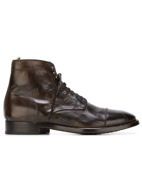 officine creative mens boots officine creative lace up boots in brown for lyst