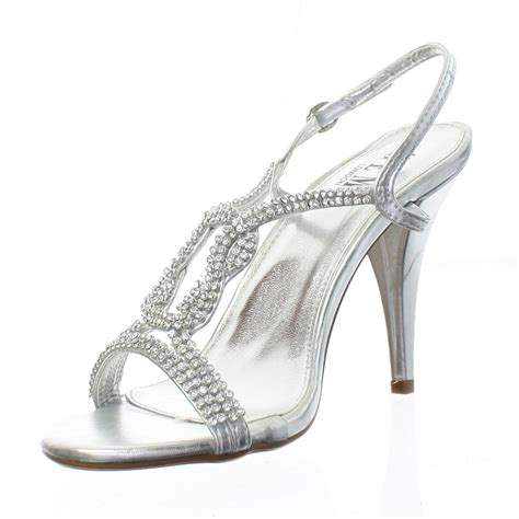 silver diamante sandal knot strappy womens prom
