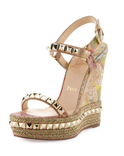 New 0204 1 Wedges Christian christian louboutin cataclou cork wedge sole sandal in