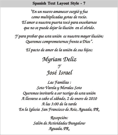Invitation Text Layout | cinderella wedding invitations in spanish spanish text