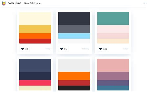 color hunt 60 color palette generators for web designing