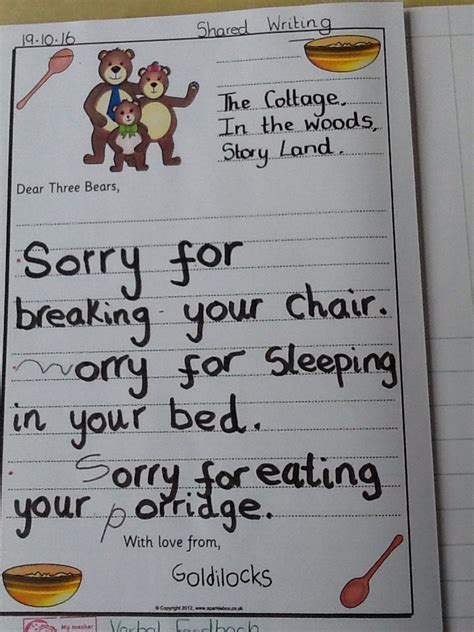 Apology Letter Goldilocks Goldilocks The Three Bears Marlfields Primary Academy