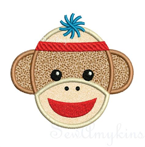 monkey applique boy sock monkey applique machine embroidery designs
