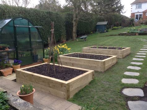 new pine railway sleeper raised beds