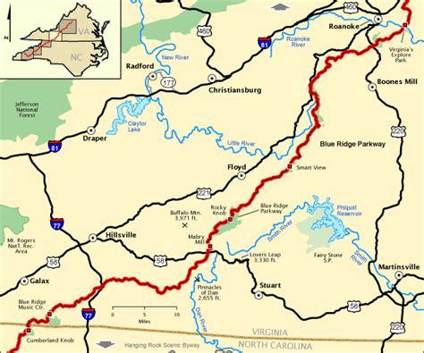 map of blue ridge parkway carolina hikes blue ridge parkway