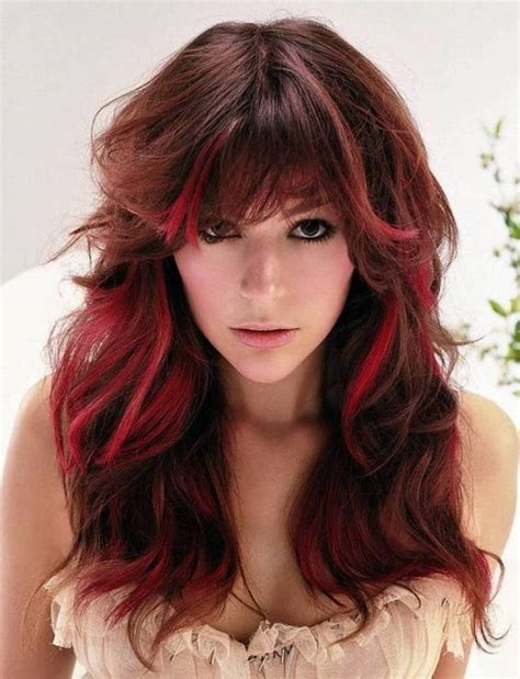 hairstyles brunette with red highlights red hairstyles beautiful hairstyles