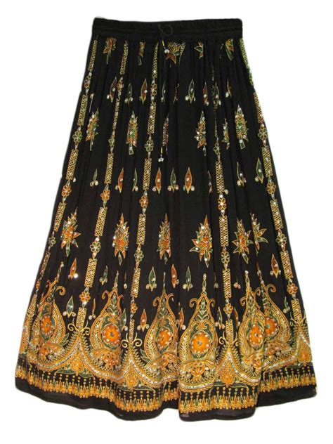 womens indian sequin crinkle broomstick skirt ebay